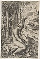 Venus removing a thorn from her left foot while seated beside trees and foliage, a hare eating grass before her MET DP818713.jpg