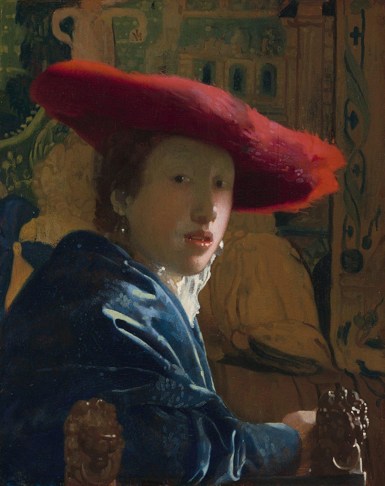 """Ян Вермеер, """"Женщина в красной шляпе"""", около 1665—1666г."""