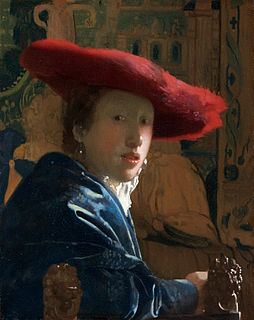 <i>Girl with a Red Hat</i> painting by Johannes Vermeer