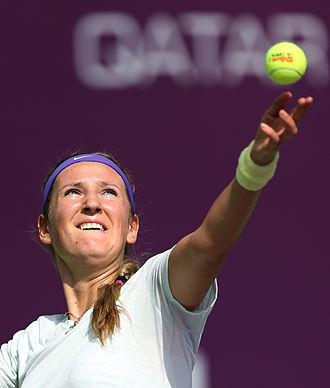 Qatar Ladies Open -  Victoria Azarenka serving at the 2012 Qatar Ladies Open
