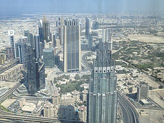 Address Boulevard - Address Boulevard (building in the front) viewed from Burj Khalifa, 2016
