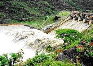 Pandoh Dam - Image: View of Spillway of Pando Dam