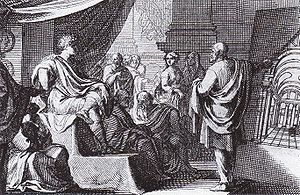 Vitruvius - A 1684 depiction of Vitruvius (right) presenting De Architectura to Augustus