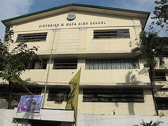 Victorino Mapa High School - Facade showing the name of the School