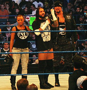 Serena Deeb - The Straight Edge Society (left to right): Serena, CM Punk and Luke Gallows.