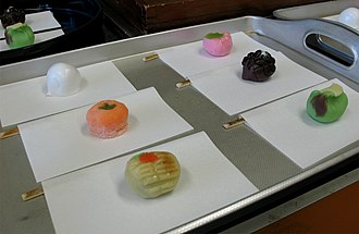 Wagashi - A selection of wagashi to be served during a Japanese tea ceremony