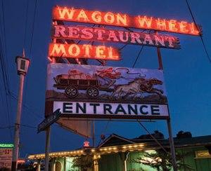 Wagon Wheel, Oxnard, California - The Wagon Wheel's neon sign visible from Highway 101.