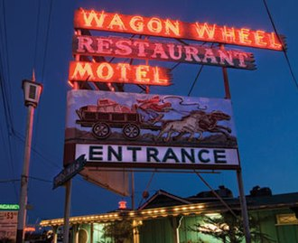Wagon Wheel, Oxnard, California - The Wagon Wheel's neon sign visible from Highway 101.