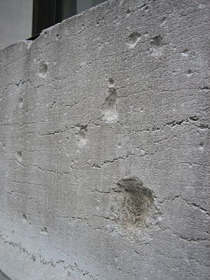 23 Wall Street - Damage from the 1920 bombing on 23 Wall Street (2006)