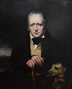 """Retrato de Sir Walter Scott e seu cervo, """"Bran"""" em 1830 por John Watson Gordon"""