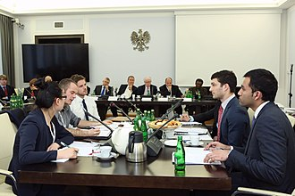 Negotiation - Students from University of Tromsø and University of Toronto during 5th International Negotiation Tournament – Warsaw Negotiation Round in the Polish Senate (2014).