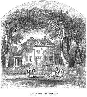 "Longfellow House–Washington's Headquarters National Historic Site - 1854 image of the home labeled as ""Headquarters, Cambridge 1775"" in reference to George Washington"