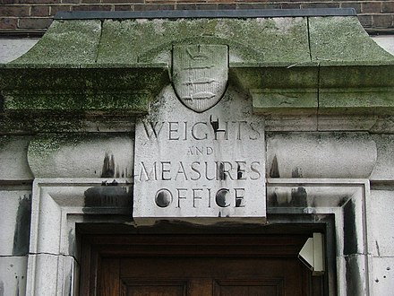 Antiga weights and Measures office a Middlesex (Anglaterra).