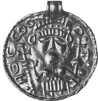 "Bracteate - B-bracteate of the B7 or ""Fürstenberg"" type, found in Welschingen   (IK 389), interpreted as depicting Frija-Frigg."