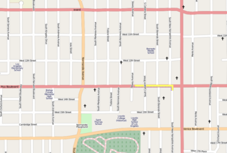 Unfinished Sympathy - A partial map of West Pico Boulevard (Los Angeles), with the path Nelson takes in the video marked in yellow