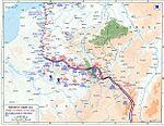 Stabilisation du front en 1914, sur des positions, qui, notamment derrière l Yser (tout en haut de la carte) ne se modifieront guère avant l automne 1918.