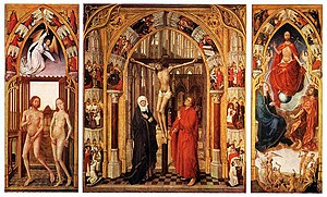 Vrancke van der Stockt - Redemption Triptych (c. 1455-59), oil on wood, 195 cm (76.8 in) x 326 cm (128.3 in). Collection Museo del Prado, Madrid