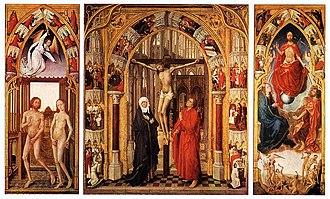 Vrancke van der Stockt - Redemption Triptych (c. 1455-59), oil on wood, 195 cm (76.8 in) x 326 cm (128.3 in). Collection Museo del Prado, Madrid