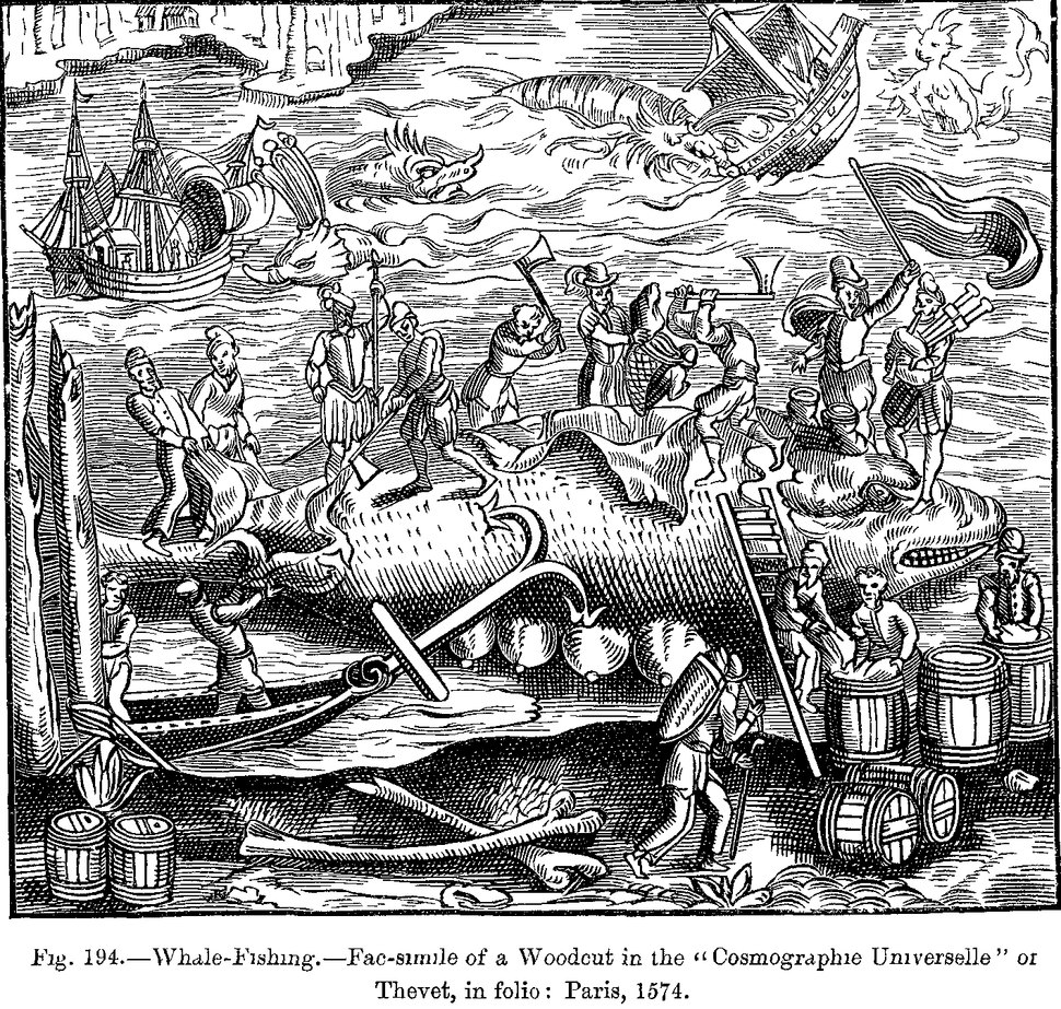 Whale Fishing Fac simile of a Woodcut in the Cosmographie Universelle of Thevet in folio Paris 1574