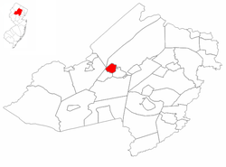 Wharton highlighted in Morris County. Inset map: Morris County highlighted in the State of New Jersey.