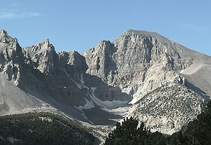 White Pine County, Nevada - Wheeler Peak, elevation 13,065 feet (3,982 m), in Great Basin National Park.