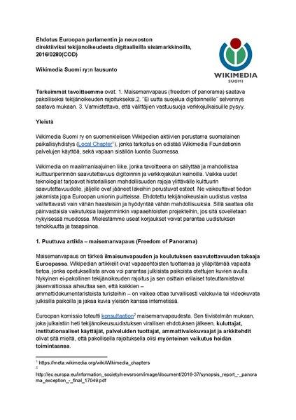 File:Wikimedia Suomen lausunto Ehdotus Euroopan parlamentin ja neuvoston direktiiviksi tekijänoikeudesta digitaalisilla sisämarkkinoilla, 2016% 2F0280(COD).pdf