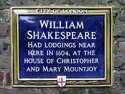 William shakespeare had lodgings here in 1604