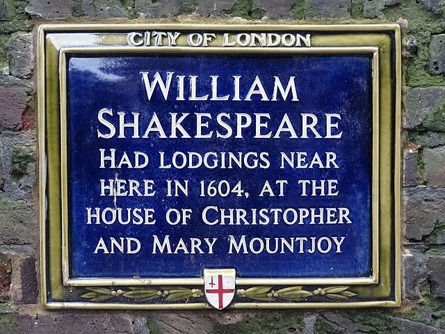 William Shakespeare, Christopher Mountjoy, and Mary Mountjoy blue plaque - William Shakespeare had lodgings near here in 1604, at the house of Christopher and Mary Mountjoy