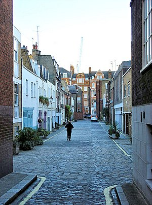 Profumo affair - 17 Wimpole Mews is the flat-roofed, brick-faced house, just visible on the right.