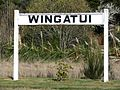 Wingatui Railway Station sign, Dunedin, NZ.JPG