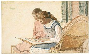Winslow Homer - Two Girls Looking at a Book (c.1877).jpg