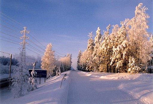 a road, telephone lines and trees covered in frost and snow