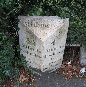 Wilmslow Road - A milestone in Withington which was placed by the Manchester Turnpike Trust; it stands opposite a public house named The Turnpike