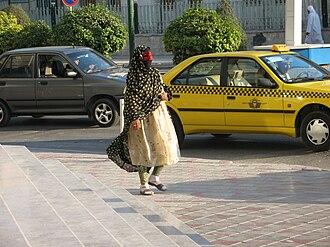 Niqāb - An Iranian Arab wearing a niqab in Bandar Abbas, southern Iran