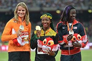 2015 World Championships in Athletics – Women's 100 metres - Image: Women's 100 m podium Beijing 2015