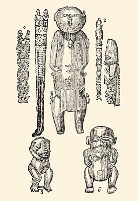 Deities of Polynesia carved from wood (bottom two are demons). Wooden idols of Polynesia (1830).jpg