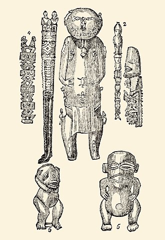 Deity - Deities of Polynesia carved from wood (bottom two are demons).