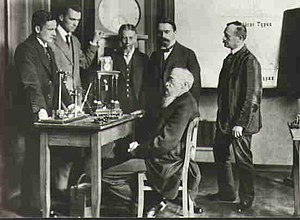 Psychology - Wilhelm Wundt (seated) with colleagues in his psychological laboratory, the first of its kind.