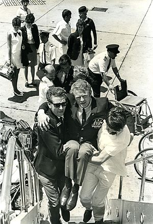 Australia at the 1968 Summer Paralympics - Jeff Simmonds Carried onto plane headed for Tel Aviv Paralympics 1968