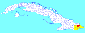 Yateras municipality (red) within  Guantánamo Province (yellow) and Cuba