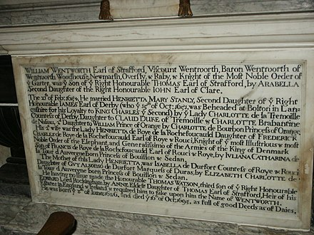 "Inscription on monument of William Wentworth, 2nd Earl of Strafford in York Minster recording his heir as Thomas Watson, with an obligation to adopt the surname ""Wentworth"" York Minster Interior Tomb William Wentworth, Earl of Strafford 1695.jpg"