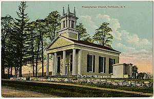 Yorktown, New York - First Presbyterian Church of Yorktown in Crompond on a vintage postcard