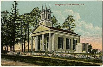 Yorktown, New York - First Presbyterian Church of Yorktown in Crompond on a vintage postcard