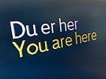 You are here - Du er her - information screen - terminal Bergen Airport Flesland Norway 2017-11-02 a.jpg