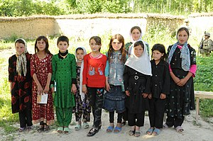 Khwahan District - Young Khwahan's girls gather at the medical facility in Khwahan, Badakhshan Province, on 3 June 2012.