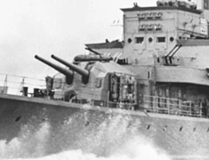 15 cm TbtsK C/36 naval gun - Forward twin guns on Z39 in 1945, in US service as DD-939