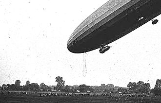 USS Shenandoah (ZR-1) - Flight test run, steep angle docking at St. Louis on 2 October 1923.