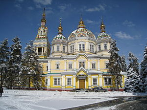 Ascension Cathedral, Almaty - Front View of the cathedral during winter