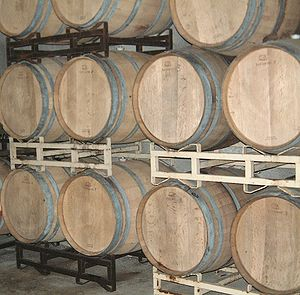 Barrels of 2007 Zinfandel wine fermenting in a...
