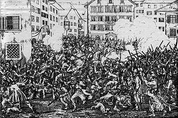 Caricature of the fights on the Münsterhof at the Züriputsch, Swiss picture calendar for the year 1840